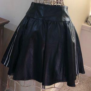 EUC nanette lepore Black Leather Skirt w/ Stripe